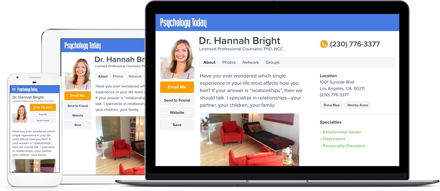 Therapy Directory examples of listings on mobile, tablet, and laptop.